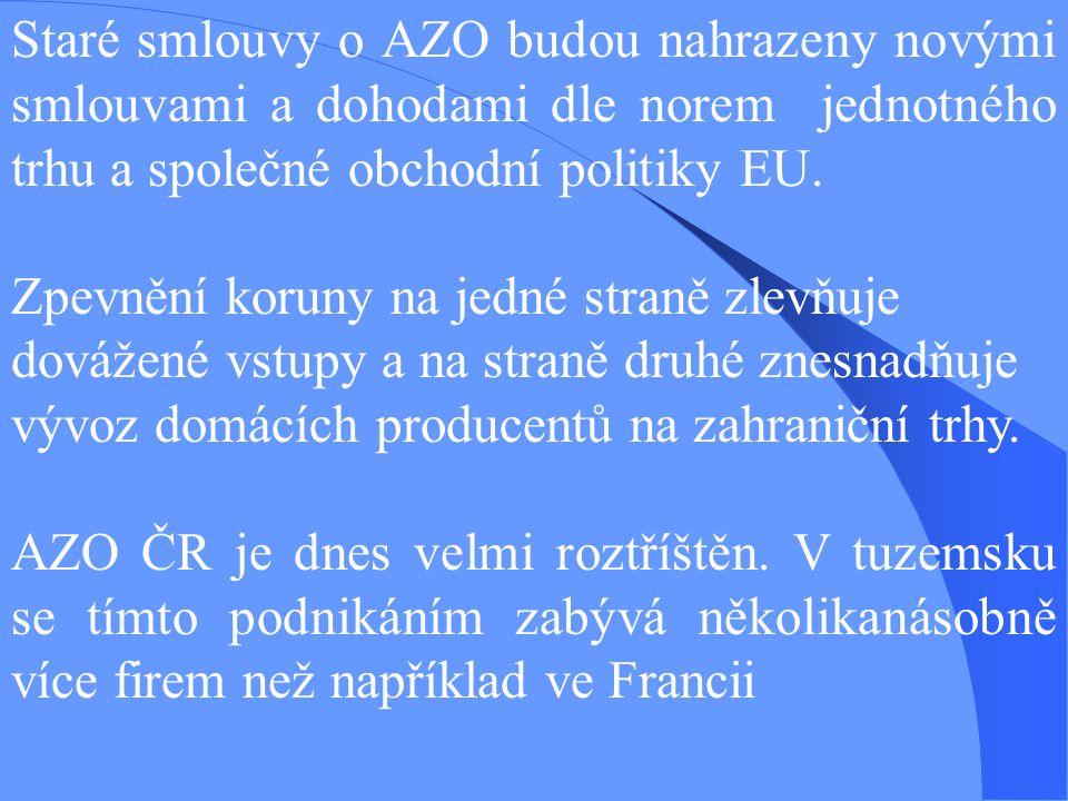 Staré smlouvy o AZO budou nahrazeny novými smlouvami a dohodami dle norem jednotného trhu a společné obchodní politiky EU. Zpevnění koruny na jedné st