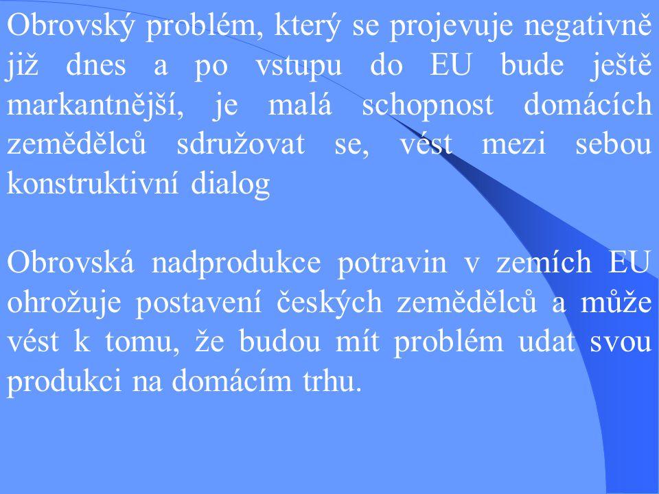 Obrovský problém, který se projevuje negativně již dnes a po vstupu do EU bude ještě markantnější, je malá schopnost domácích zemědělců sdružovat se, vést mezi sebou konstruktivní dialog Obrovská nadprodukce potravin v zemích EU ohrožuje postavení českých zemědělců a může vést k tomu, že budou mít problém udat svou produkci na domácím trhu.