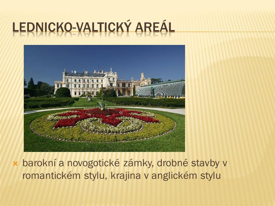  barokní a novogotické zámky, drobné stavby v romantickém stylu, krajina v anglickém stylu