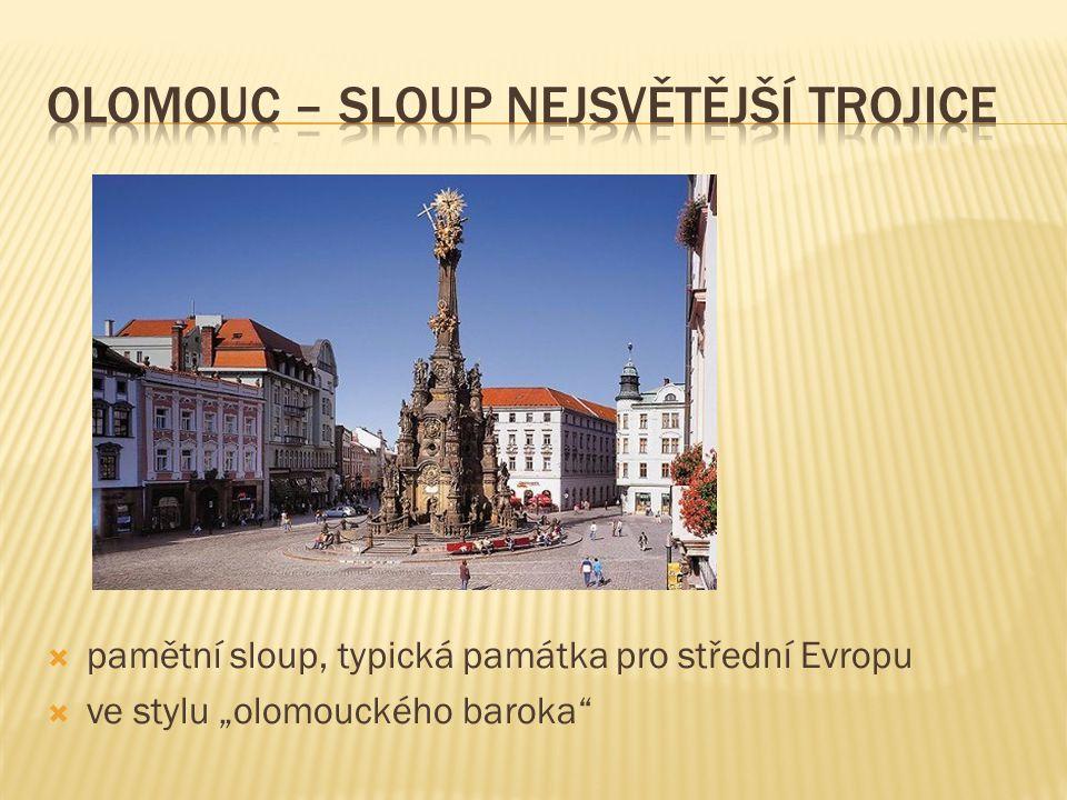 """ pamětní sloup, typická památka pro střední Evropu  ve stylu """"olomouckého baroka"""