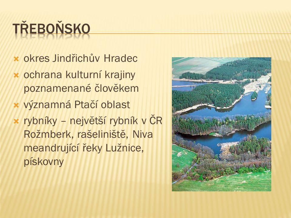  okres Jindřichův Hradec  ochrana kulturní krajiny poznamenané člověkem  významná Ptačí oblast  rybníky – největší rybník v ČR Rožmberk, rašeliniště, Niva meandrující řeky Lužnice, pískovny