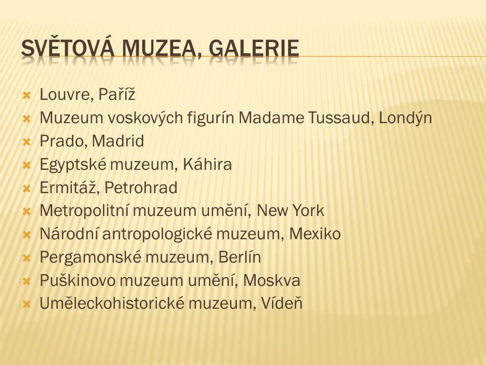  Louvre, Paříž  Muzeum voskových figurín Madame Tussaud, Londýn  Prado, Madrid  Egyptské muzeum, Káhira  Ermitáž, Petrohrad  Metropolitní muzeum