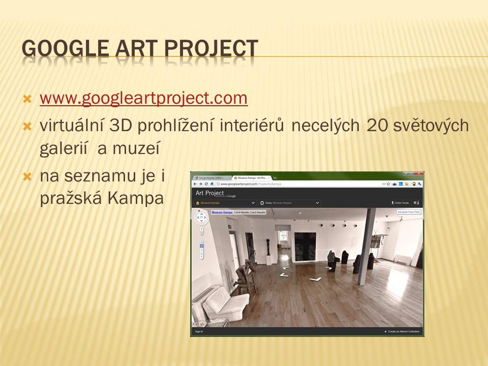  www.googleartproject.com www.googleartproject.com  virtuální 3D prohlížení interiérů necelých 20 světových galerií a muzeí  na seznamu je i pražská Kampa