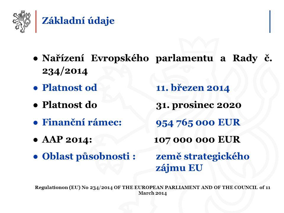 Základní údaje ●Nařízení Evropského parlamentu a Rady č. 234/2014 ●Platnost od 11. březen 2014 ●Platnost do 31. prosinec 2020 ●Finanční rámec: 954 765