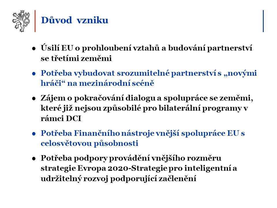 """Důvod vzniku ●Úsilí EU o prohloubení vztahů a budování partnerství se třetími zeměmi ●Potřeba vybudovat srozumitelné partnerství s """"novými hráči na mezinárodní scéně ●Zájem o pokračování dialogu a spolupráce se zeměmi, které již nejsou způsobilé pro bilaterální programy v rámci DCI ●Potřeba Finančního nástroje vnější spolupráce EU s celosvětovou působnosti ●Potřeba podpory provádění vnějšího rozměru strategie Evropa 2020-Strategie pro inteligentní a udržitelný rozvoj podporující začlenění"""