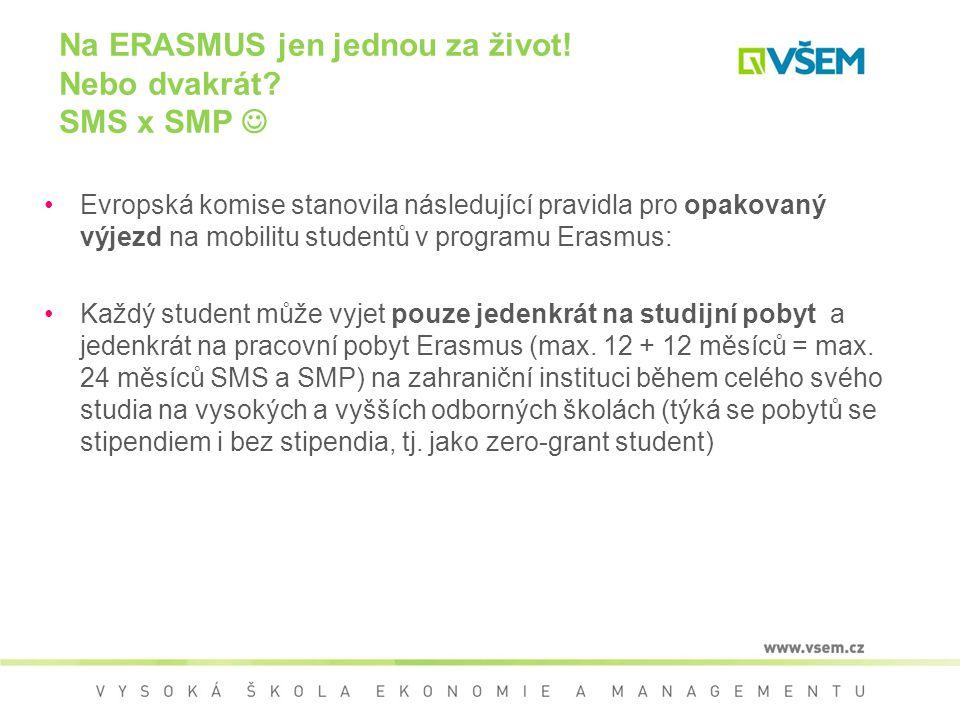 Evropská komise stanovila následující pravidla pro opakovaný výjezd na mobilitu studentů v programu Erasmus: Každý student může vyjet pouze jedenkrát