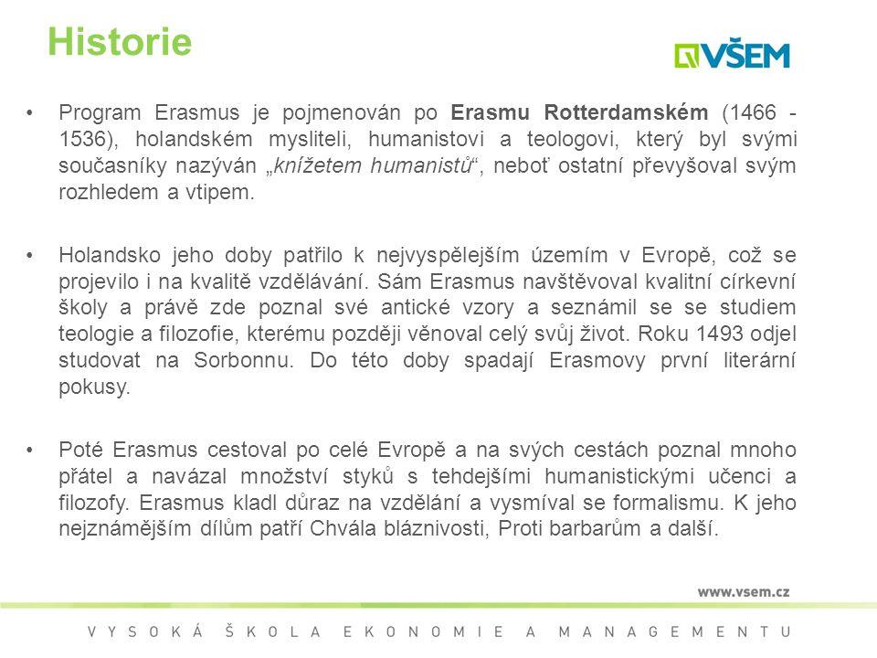 Historie Program Erasmus je pojmenován po Erasmu Rotterdamském (1466 - 1536), holandském mysliteli, humanistovi a teologovi, který byl svými současník