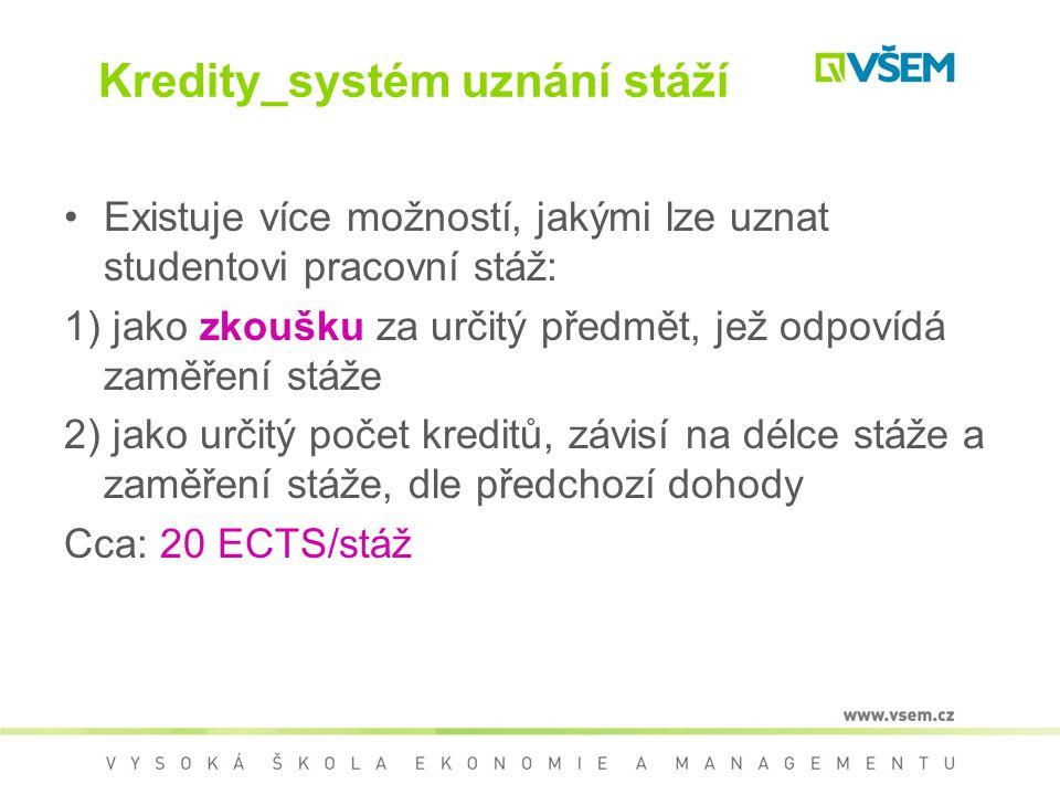 Kredity_systém uznání stáží Existuje více možností, jakými lze uznat studentovi pracovní stáž: 1) jako zkoušku za určitý předmět, jež odpovídá zaměřen