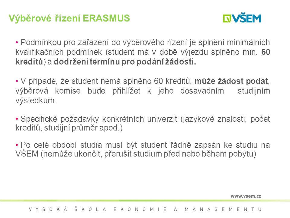 Výběrové řízení ERASMUS - SMS Žádost ERASMUS Vyplnění žádosti ERASMUS (http://www.vsem.cz/program- erasmus.html).http://www.vsem.cz/program- erasmus.html Termín podání žádostí: 29.3.2013 - podzimní semestr / trimestr nebo celý akademický rok V případě nízkého počtu podaných žádostí v prvním kole, bude vyhlášeno kolo druhé: 30.9.2013 – letní semestr / trimestr (pouze pokud nedojde k naplnění počtu přidělených mobilit)