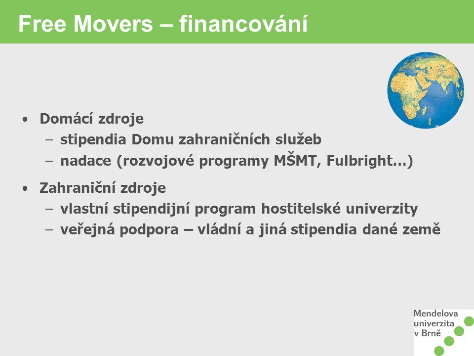 Free Movers – financování Domácí zdroje –stipendia Domu zahraničních služeb –nadace (rozvojové programy MŠMT, Fulbright…) Zahraniční zdroje –vlastní stipendijní program hostitelské univerzity –veřejná podpora – vládní a jiná stipendia dané země