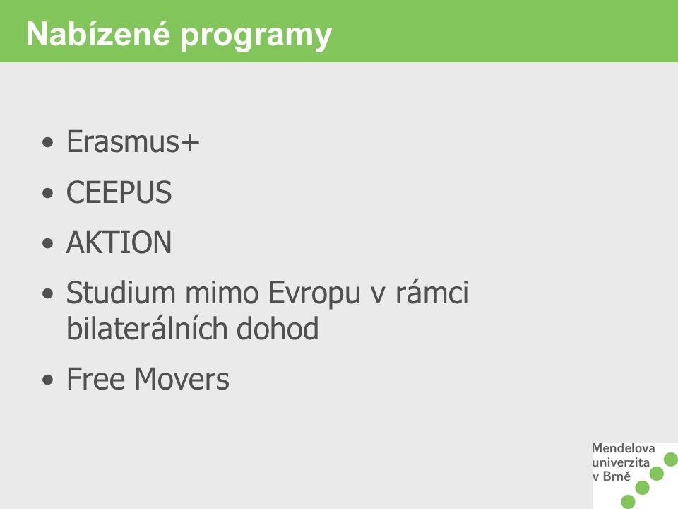 Nabízené programy Erasmus+ CEEPUS AKTION Studium mimo Evropu v rámci bilaterálních dohod Free Movers