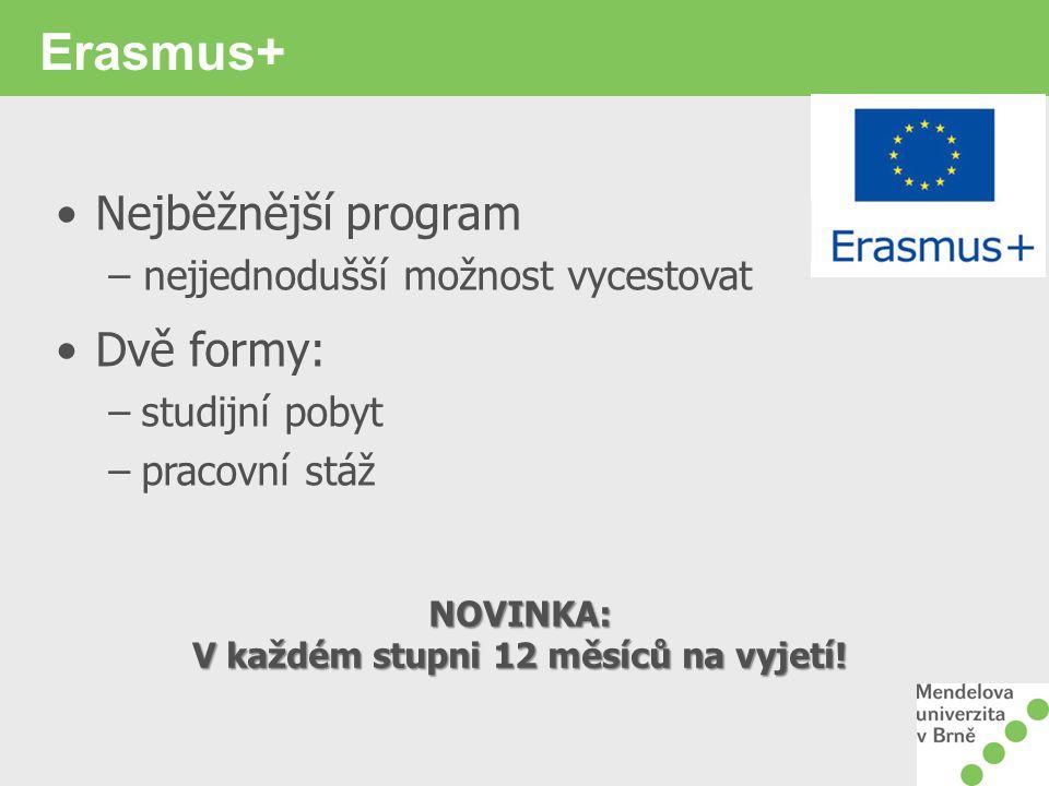 Erasmus+ Nejběžnější program – nejjednodušší možnost vycestovat Dvě formy: –studijní pobyt –pracovní stáž NOVINKA: V každém stupni 12 měsíců na vyjetí!