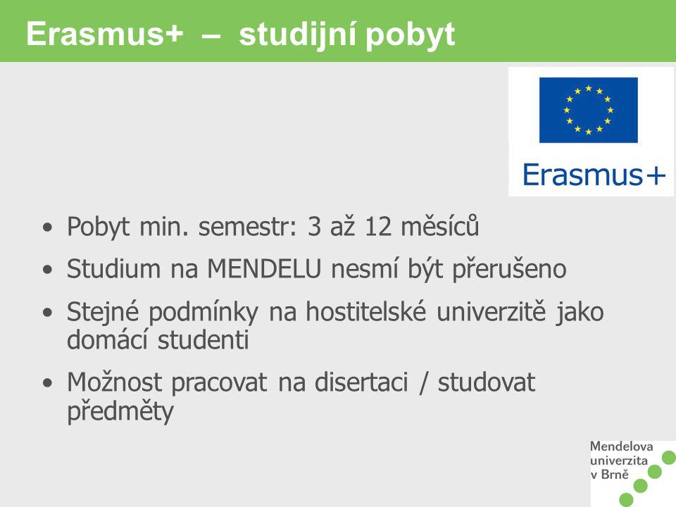 Erasmus+ – studijní pobyt Pobyt min.