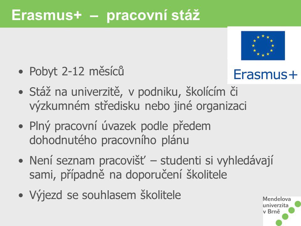 Erasmus+ – pracovní stáž Pobyt 2-12 měsíců Stáž na univerzitě, v podniku, školícím či výzkumném středisku nebo jiné organizaci Plný pracovní úvazek podle předem dohodnutého pracovního plánu Není seznam pracovišť – studenti si vyhledávají sami, případně na doporučení školitele Výjezd se souhlasem školitele