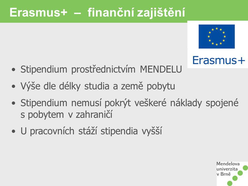 Erasmus+ – finanční zajištění Stipendium prostřednictvím MENDELU Výše dle délky studia a země pobytu Stipendium nemusí pokrýt veškeré náklady spojené s pobytem v zahraničí U pracovních stáží stipendia vyšší