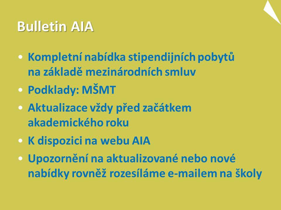 Bulletin AIA Kompletní nabídka stipendijních pobytů na základě mezinárodních smluv Podklady: MŠMT Aktualizace vždy před začátkem akademického roku K dispozici na webu AIA Upozornění na aktualizované nebo nové nabídky rovněž rozesíláme e-mailem na školy