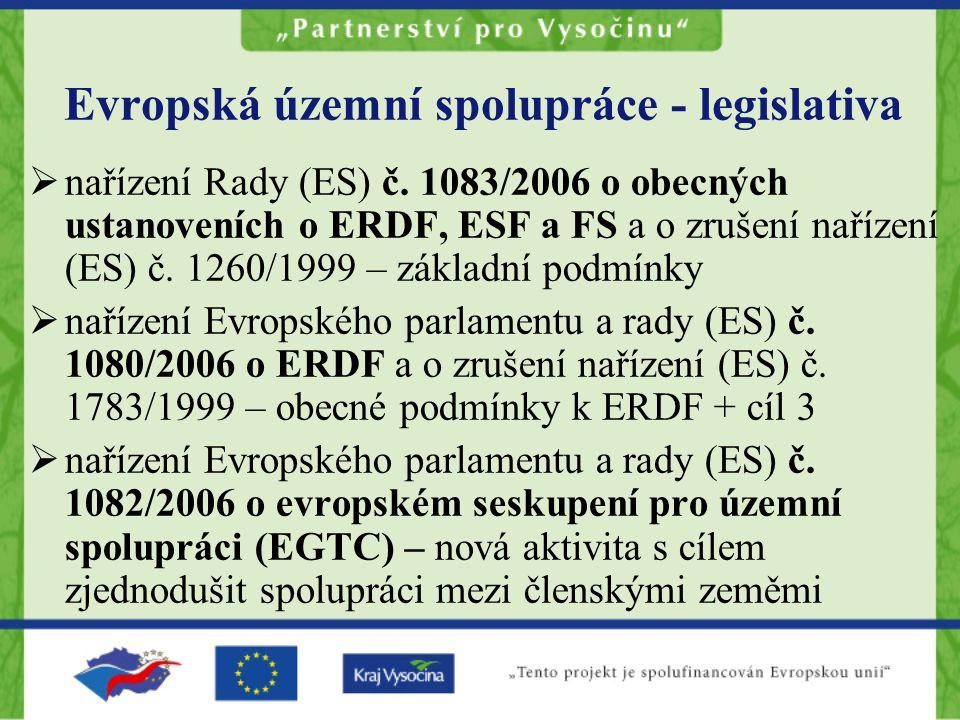 Evropská územní spolupráce - legislativa  nařízení Rady (ES) č.
