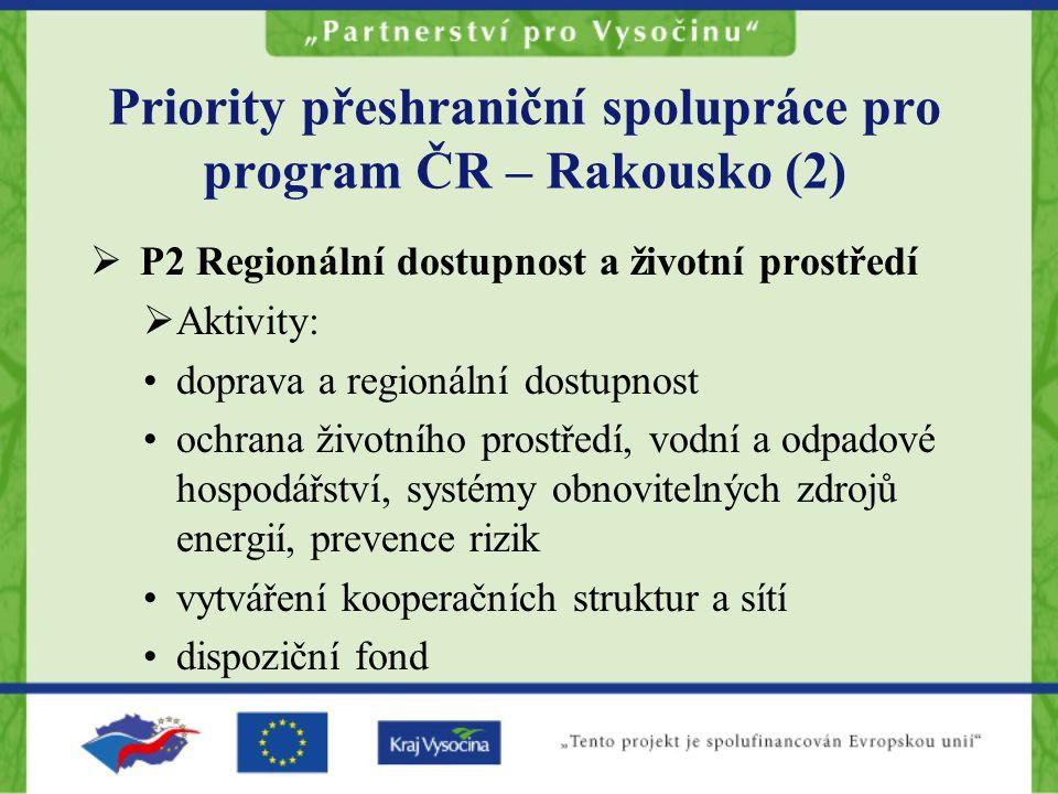 Priority přeshraniční spolupráce pro program ČR – Rakousko (2)  P2 Regionální dostupnost a životní prostředí  Aktivity: doprava a regionální dostupnost ochrana životního prostředí, vodní a odpadové hospodářství, systémy obnovitelných zdrojů energií, prevence rizik vytváření kooperačních struktur a sítí dispoziční fond