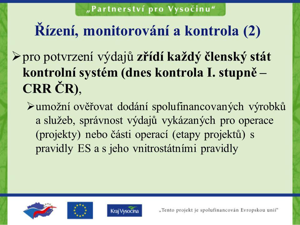 Řízení, monitorování a kontrola (2)  pro potvrzení výdajů zřídí každý členský stát kontrolní systém (dnes kontrola I.