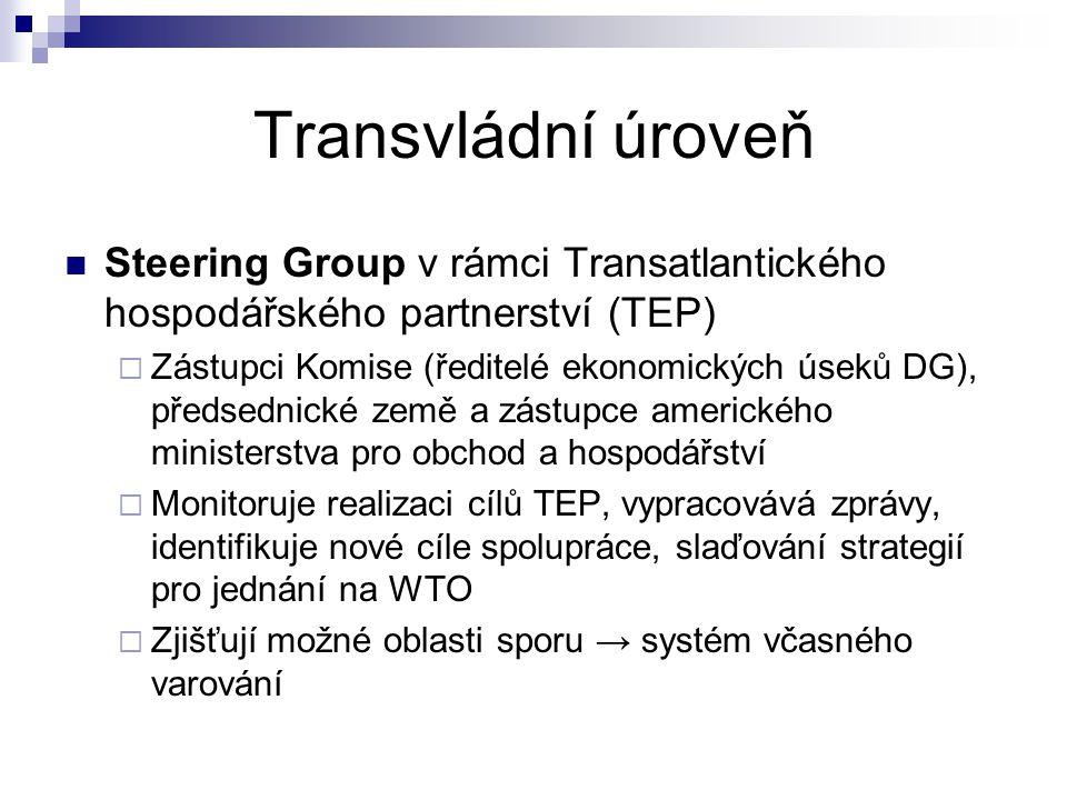 Transvládní úroveň Steering Group v rámci Transatlantického hospodářského partnerství (TEP)  Zástupci Komise (ředitelé ekonomických úseků DG), předsednické země a zástupce amerického ministerstva pro obchod a hospodářství  Monitoruje realizaci cílů TEP, vypracovává zprávy, identifikuje nové cíle spolupráce, slaďování strategií pro jednání na WTO  Zjišťují možné oblasti sporu → systém včasného varování