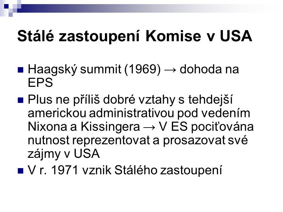 Stálé zastoupení Komise v USA Haagský summit (1969) → dohoda na EPS Plus ne příliš dobré vztahy s tehdejší americkou administrativou pod vedením Nixona a Kissingera → V ES pociťována nutnost reprezentovat a prosazovat své zájmy v USA V r.
