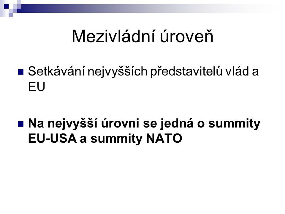 Mezivládní úroveň Setkávání nejvyšších představitelů vlád a EU Na nejvyšší úrovni se jedná o summity EU-USA a summity NATO