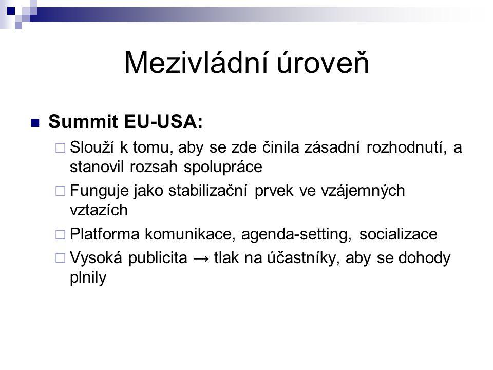 Mezivládní úroveň Summit EU-USA:  Slouží k tomu, aby se zde činila zásadní rozhodnutí, a stanovil rozsah spolupráce  Funguje jako stabilizační prvek ve vzájemných vztazích  Platforma komunikace, agenda-setting, socializace  Vysoká publicita → tlak na účastníky, aby se dohody plnily