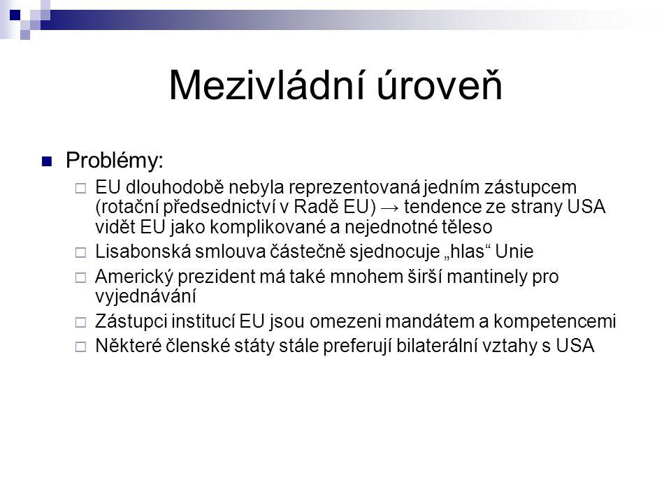 """Mezivládní úroveň Problémy:  EU dlouhodobě nebyla reprezentovaná jedním zástupcem (rotační předsednictví v Radě EU) → tendence ze strany USA vidět EU jako komplikované a nejednotné těleso  Lisabonská smlouva částečně sjednocuje """"hlas Unie  Americký prezident má také mnohem širší mantinely pro vyjednávání  Zástupci institucí EU jsou omezeni mandátem a kompetencemi  Některé členské státy stále preferují bilaterální vztahy s USA"""