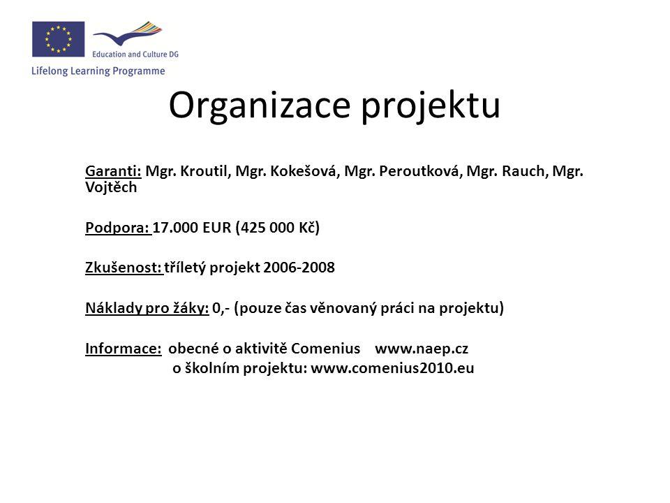 Organizace projektu Garanti: Mgr. Kroutil, Mgr. Kokešová, Mgr.