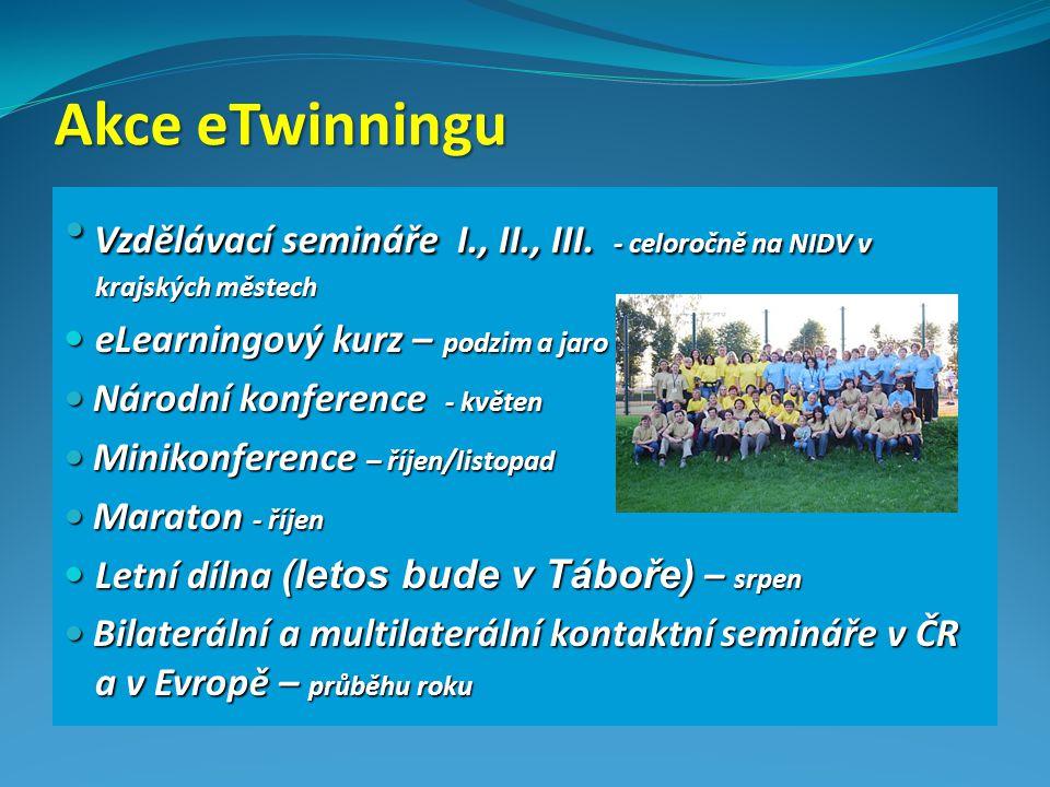Akce eTwinningu Vzdělávací semináře I., II., III. - celoročně na NIDV v krajských městech Vzdělávací semináře I., II., III. - celoročně na NIDV v kraj