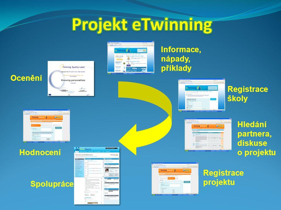 Ocenění Informace, nápady, příklady Hledání partnera, diskuse o projektu Registrace školy Registrace projektu Spolupráce Hodnocení