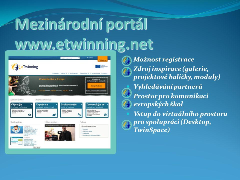 Mezinárodní portál www.etwinning.net Možnost registrace Zdroj inspirace (galerie, projektové balíčky, moduly) Vyhledávání partnerů Prostor pro komunikaci evropských škol Vstup do virtuálního prostoru pro spolupráci (Desktop, TwinSpace)