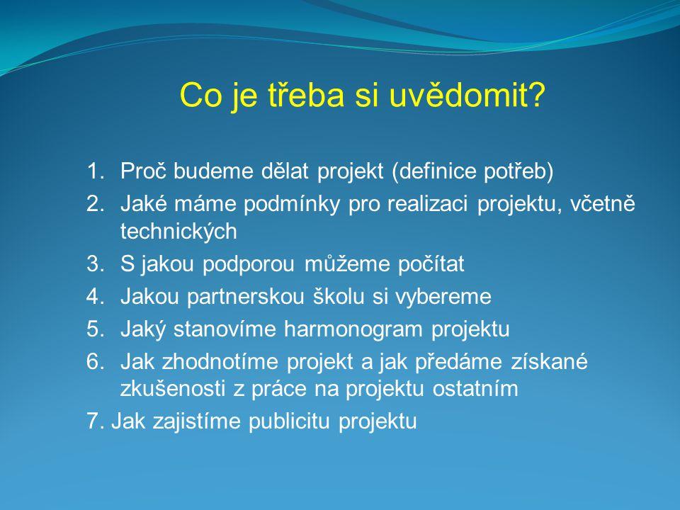 1.Proč budeme dělat projekt (definice potřeb) 2.Jaké máme podmínky pro realizaci projektu, včetně technických 3.S jakou podporou můžeme počítat 4.Jako