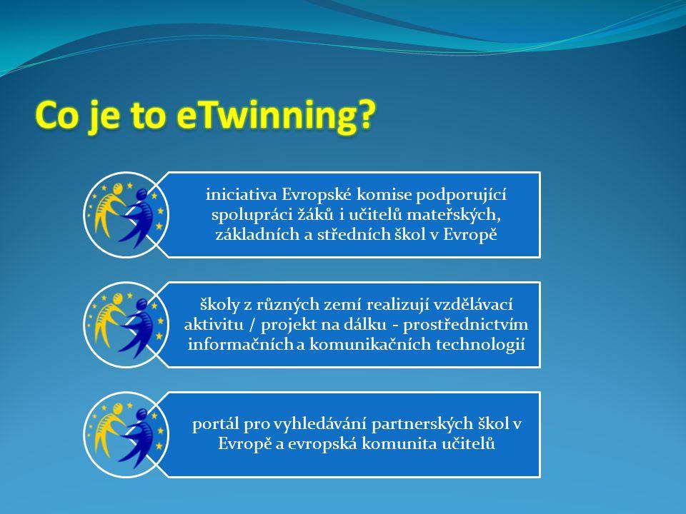 iniciativa Evropské komise podporující spolupráci žáků i učitelů mateřských, základních a středních škol v Evropě školy z různých zemí realizují vzdělávací aktivitu / projekt na dálku - prostřednictvím informačních a komunikačních technologií portál pro vyhledávání partnerských škol v Evropě a evropská komunita učitelů