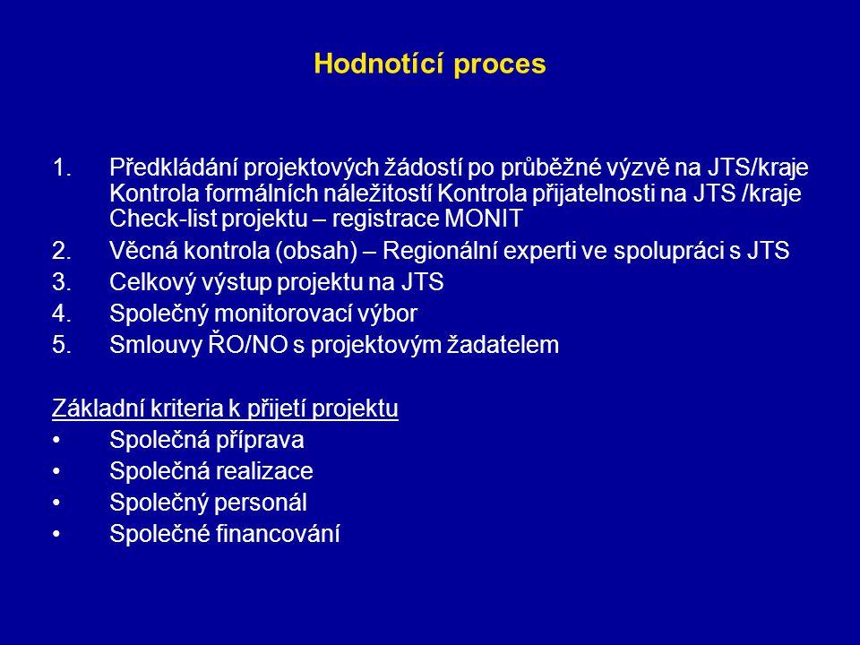 Hodnotící proces 1.Předkládání projektových žádostí po průběžné výzvě na JTS/kraje Kontrola formálních náležitostí Kontrola přijatelnosti na JTS /kraj