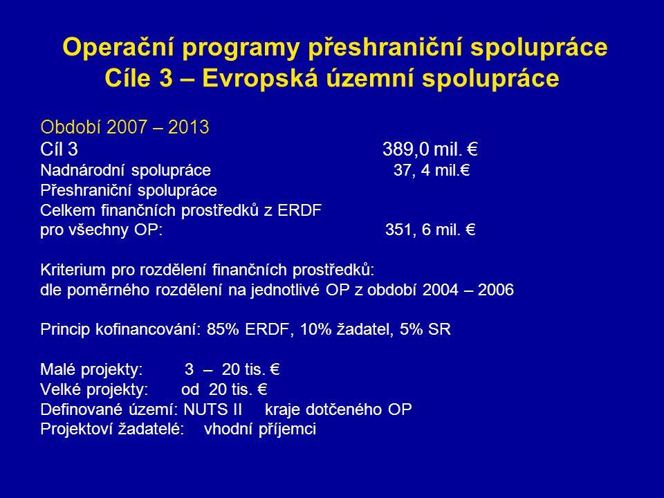 Operační programy přeshraniční spolupráce Cíle 3 – Evropská územní spolupráce Období2007 – 2013 Cíl 3 389,0 mil. € Nadnárodní spolupráce 37, 4 mil.€ P