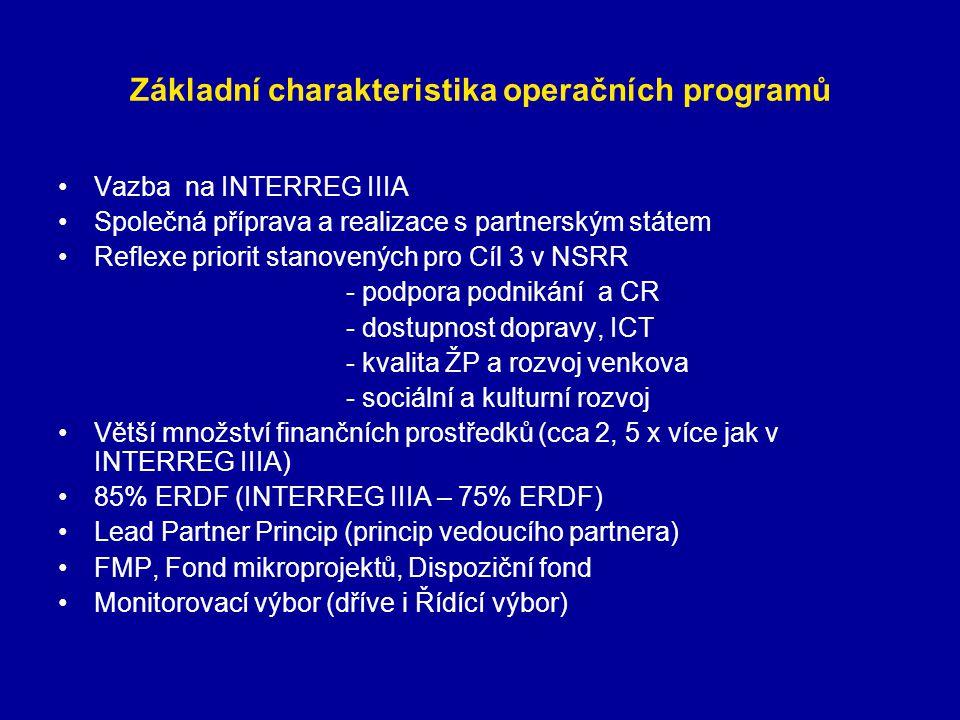 Základní charakteristika operačních programů Vazba na INTERREG IIIA Společná příprava a realizace s partnerským státem Reflexe priorit stanovených pro