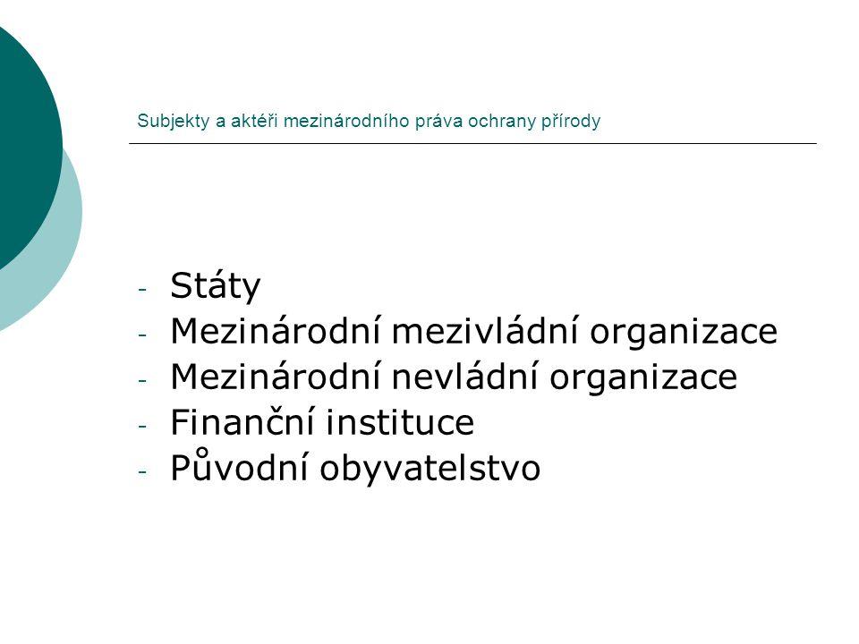 Subjekty a aktéři mezinárodního práva ochrany přírody - Státy - Mezinárodní mezivládní organizace - Mezinárodní nevládní organizace - Finanční institu