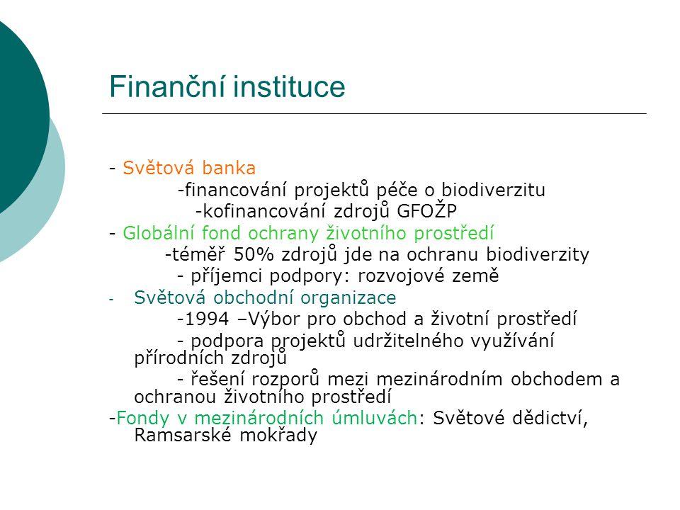 Finanční instituce - Světová banka -financování projektů péče o biodiverzitu -kofinancování zdrojů GFOŽP - Globální fond ochrany životního prostředí -