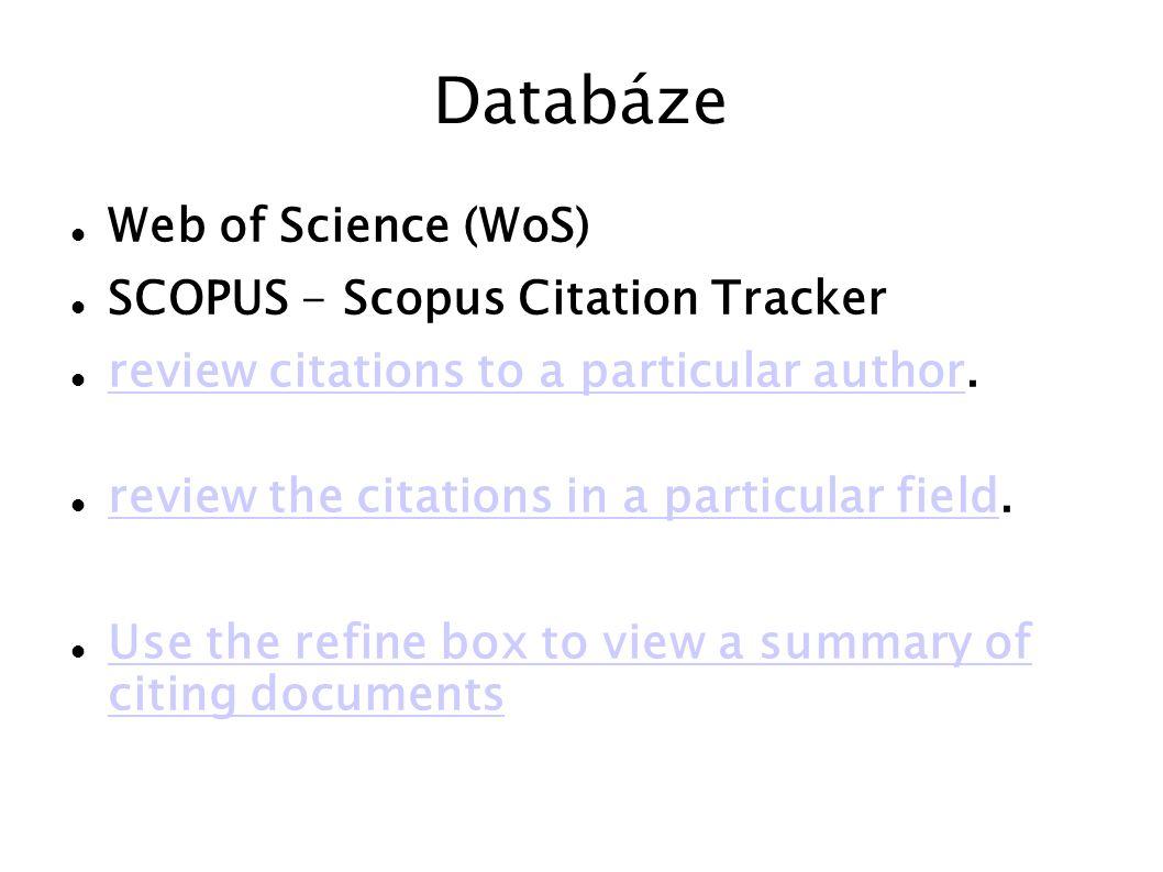 Analýza časopisů Journal of Citation Reports Celkem je vyhodnocováno asi 9100 časopisů od 2200 nakladatelů ze 78 států, zahrnujících asi 230 vědních oborů.