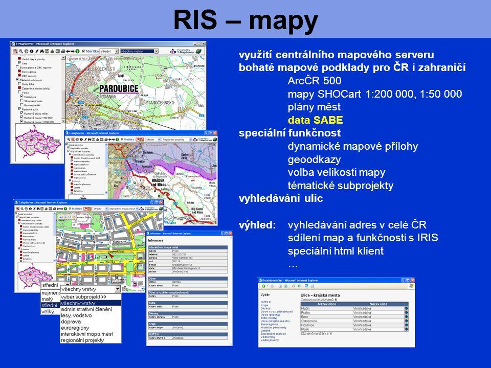 RIS – mapy využití centrálního mapového serveru bohaté mapové podklady pro ČR i zahraničí ArcČR 500 mapy SHOCart 1:200 000, 1:50 000 plány měst data SABE speciální funkčnost dynamické mapové přílohy geoodkazy volba velikosti mapy tématické subprojekty vyhledávání ulic výhled:vyhledávání adres v celé ČR sdílení map a funkčnosti s IRIS speciální html klient …