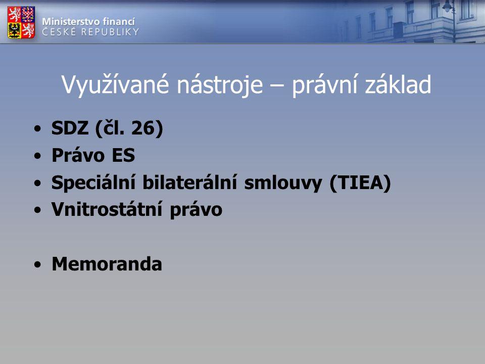 Využívané nástroje – právní základ SDZ (čl. 26) Právo ES Speciální bilaterální smlouvy (TIEA) Vnitrostátní právo Memoranda