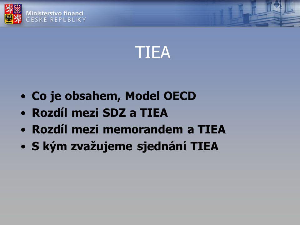 TIEA Co je obsahem, Model OECD Rozdíl mezi SDZ a TIEA Rozdíl mezi memorandem a TIEA S kým zvažujeme sjednání TIEA