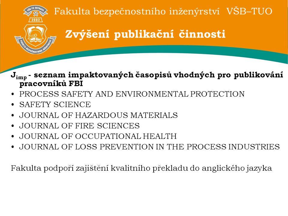 Fakulta bezpečnostního inženýrství VŠB–TUO J imp - seznam impaktovaných časopisů vhodných pro publikování pracovníků FBI PROCESS SAFETY AND ENVIRONMENTAL PROTECTION SAFETY SCIENCE JOURNAL OF HAZARDOUS MATERIALS JOURNAL OF FIRE SCIENCES JOURNAL OF OCCUPATIONAL HEALTH JOURNAL OF LOSS PREVENTION IN THE PROCESS INDUSTRIES Fakulta podpoří zajištění kvalitního překladu do anglického jazyka Zvýšení publikační činnosti