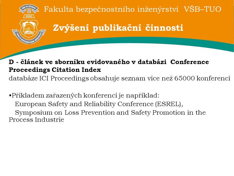Fakulta bezpečnostního inženýrství VŠB–TUO D - článek ve sborníku evidovaného v databázi Conference Proceedings Citation Index databáze ICI Proceedings obsahuje seznam více než 65000 konferencí Příkladem zařazených konferencí je například: European Safety and Reliability Conference (ESREL), Symposium on Loss Prevention and Safety Promotion in the Process Industrie Zvýšení publikační činnosti