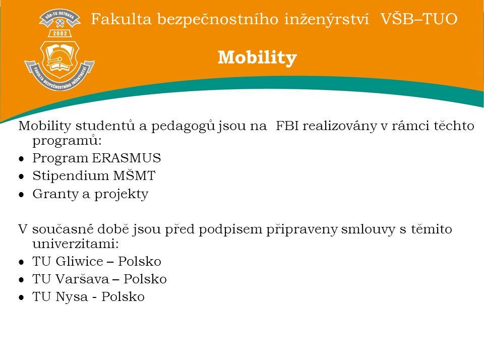 Fakulta bezpečnostního inženýrství VŠB–TUO Mobility studentů a pedagogů jsou na FBI realizovány v rámci těchto programů:  Program ERASMUS  Stipendiu