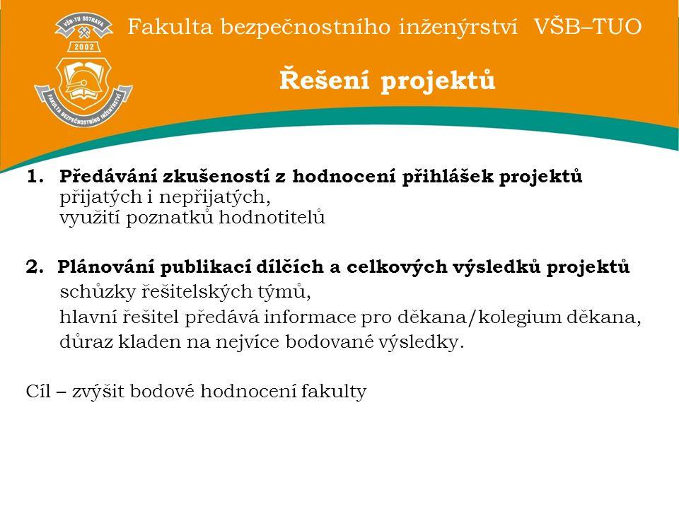 Fakulta bezpečnostního inženýrství VŠB–TUO 1.Předávání zkušeností z hodnocení přihlášek projektů přijatých i nepřijatých, využití poznatků hodnotitelů