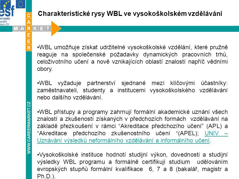 Charakteristické rysy WBL ve vysokoškolském vzdělávání WWW.CAREERMARKET.CZ WBL umožňuje získat udržitelné vysokoškolské vzdělání, které pružně reaguje na společenské požadavky dynamických pracovních trhů, celoživotního učení a nově vznikajících oblastí znalostí napříč vědními obory.