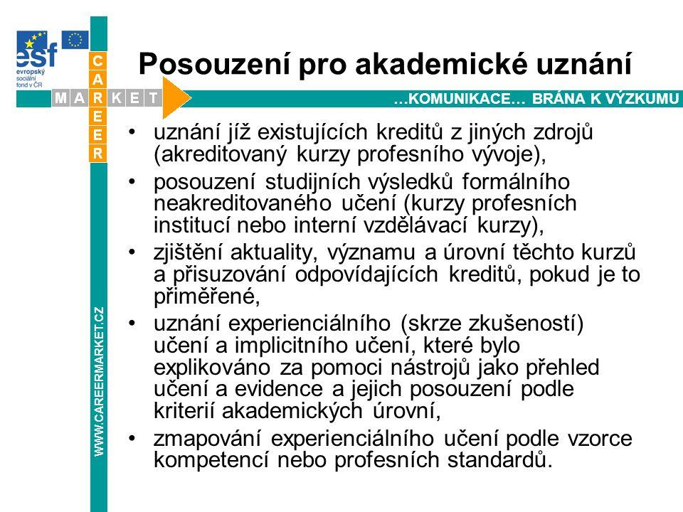 Posouzení pro akademické uznání uznání jíž existujících kreditů z jiných zdrojů (akreditovaný kurzy profesního vývoje), posouzení studijních výsledků formálního neakreditovaného učení (kurzy profesních institucí nebo interní vzdělávací kurzy), zjištění aktuality, významu a úrovní těchto kurzů a přisuzování odpovídajících kreditů, pokud je to přiměřené, uznání experienciálního (skrze zkušeností) učení a implicitního učení, které bylo explikováno za pomoci nástrojů jako přehled učení a evidence a jejich posouzení podle kriterií akademických úrovní, zmapování experienciálního učení podle vzorce kompetencí nebo profesních standardů.