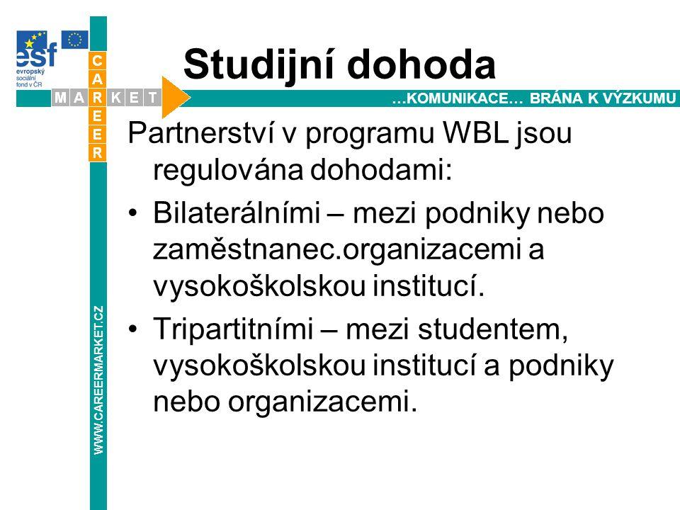 Studijní dohoda Partnerství v programu WBL jsou regulována dohodami: Bilaterálními – mezi podniky nebo zaměstnanec.organizacemi a vysokoškolskou institucí.